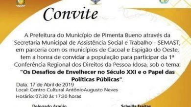 Pimenta Bueno promoverá 1ª Conferência Regional dos Direitos da Pessoa Idosa