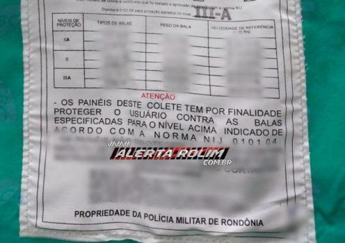 Roagora Colete 496x350 - Policial Militar em Pimenta Bueno é preso pela própria corporação em flagrante com carro roubado, drogas e colete extraviado do Quartel
