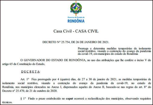 decreto r 507x350 - Governo prorroga decreto e mantém toque de recolher em 29 cidades de Rondônia