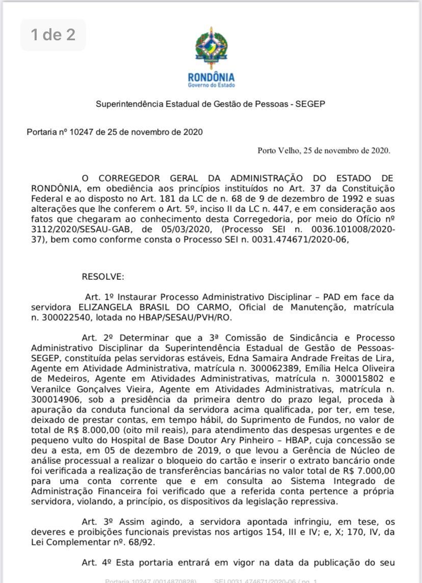 Irmã do Deputado Estadual Eyder Brasil responde processo por suposto envolvimento de desvio de dinheiro da saúde de Rondônia
