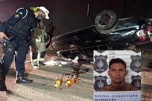 Apenado morre em capotamento de carro após colisão com motoboy