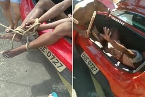 Travesti é amarrada é espancada dentro de porta-malas de carro; veja o vídeo
