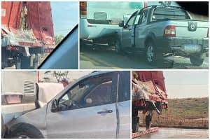 VÍDEO: Seis pessoas são levadas para o hospital após acidente envolvendo três veículos na BR-364 em Pimenta Bueno